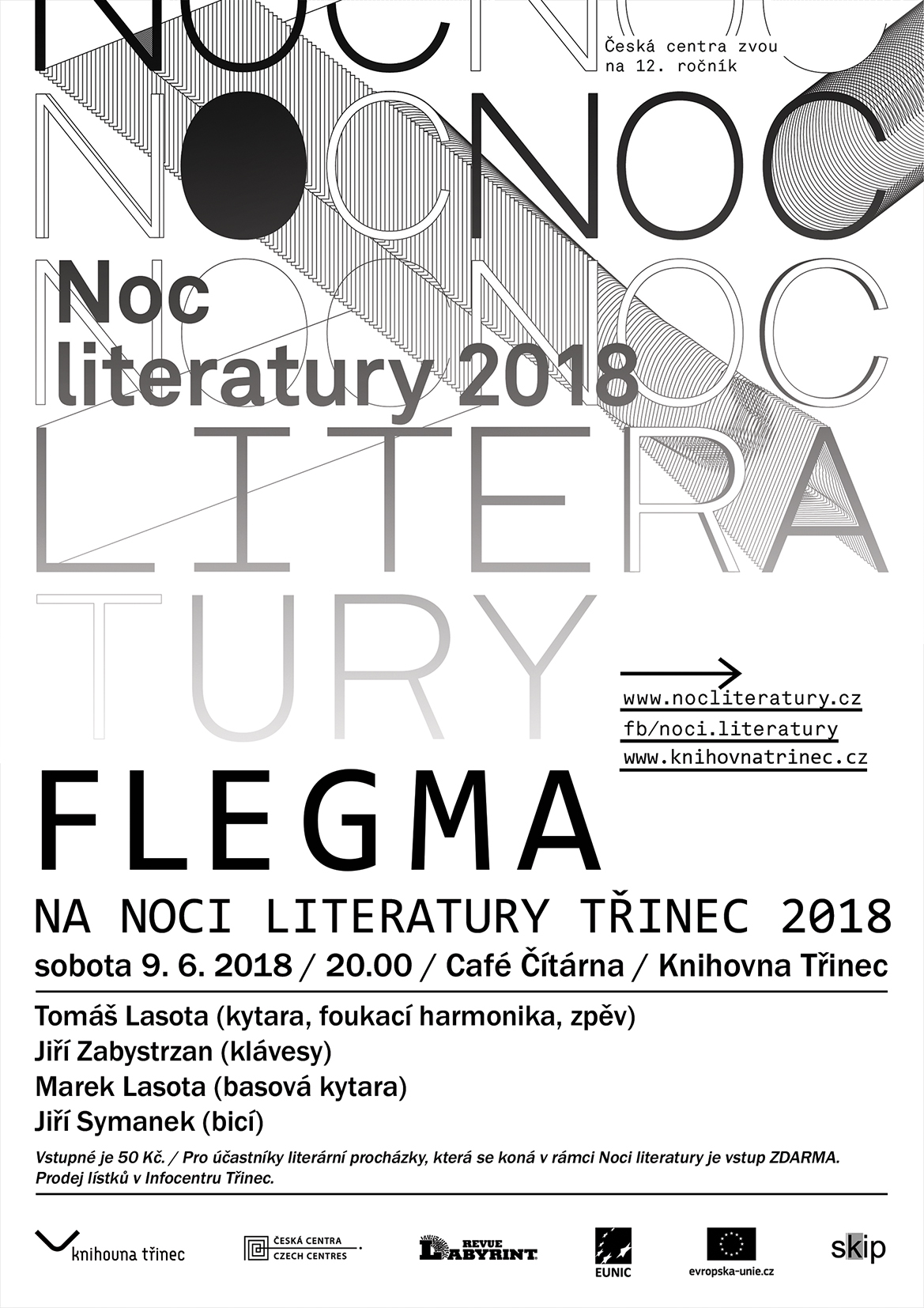 Noc literatury Třinec 2018 koncert FLEGMA