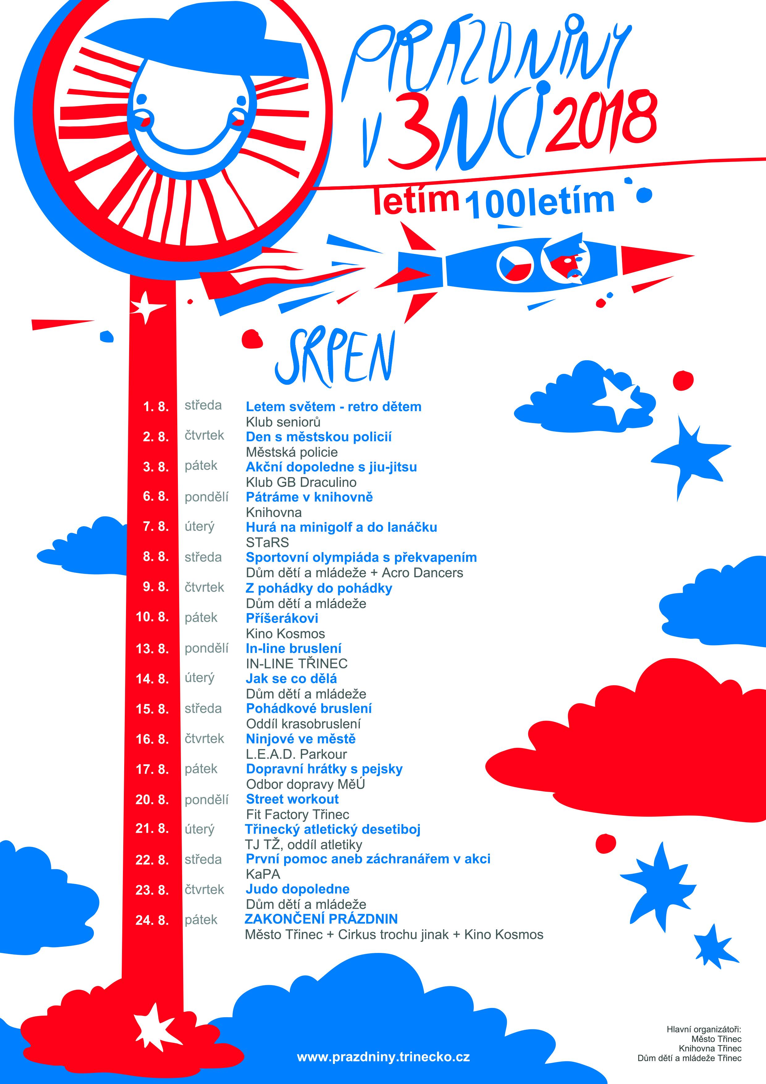 Prázdniny v Třinci 2018 srpen plakát WEB