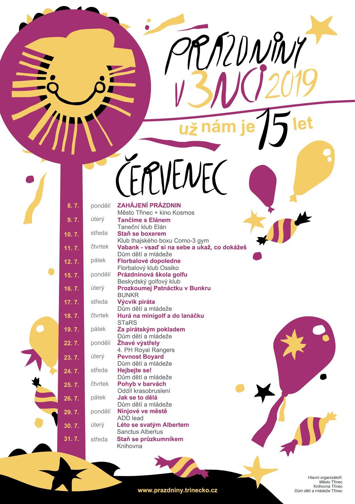 Prázdniny v 3nci 2019 červenec program